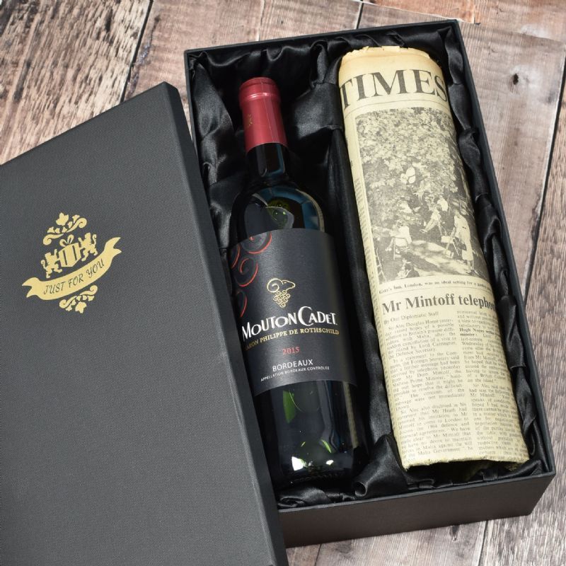 Vintage Bordeaux Red Wine & Newspaper Gift Set | Perfect Gift for a loved one